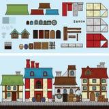 Vector vlakke illustratie en SPRITE voor spel Oude huizen Royalty-vrije Stock Foto