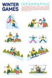 Vector vlakke illustratie infographic van de sportspelen van de de wintersneeuw Ski?end, makend sneeuwman, het schaatsen, engelen stock illustratie