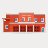 Vector vlakke illustratie van brandweerkazerne Royalty-vrije Stock Fotografie
