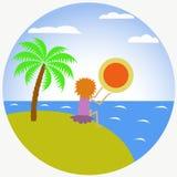 Vector vlakke illustratie van een meisje op een eiland en een zonsondergang stock foto's