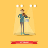 Vector vlakke illustratie van violist die klassieke muziek uitvoeren stock illustratie