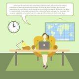 Vector vlakke illustratie van webinar, online conferentie, lezingen en opleiding in Internet stock illustratie