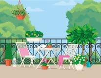 Vector vlakke illustratie Wit die tuinmeubilair op het balkon met potten van bloemen wordt verfraaid stock illustratie