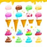 Vector vlakke inzameling van de smakelijke zoete kleurrijke geïsoleerde elementen van roomijskegels vector illustratie