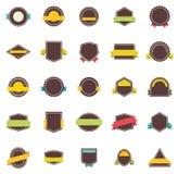 Vector vlakke kentekens en linten Royalty-vrije Stock Afbeeldingen