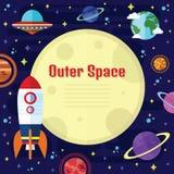 Vector Vlakke Kosmische ruimteelementen Stock Foto's