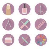 Vector vlakke manicurespijkers en hulpmiddelen Royalty-vrije Stock Afbeelding