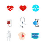 Vector vlakke medische Webpictogrammen: het bloed van de het levensdood van de het ziekenhuispatiënt Stock Foto