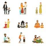 Vector vlakke mensenkarakters van verschillende geplaatste godsdiensten Joden, Katholieken, Moslims, Boeddhisten Families in nati stock illustratie