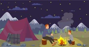 Vector Vlakke Nacht Kamperende Vader Preparing Dinner vector illustratie