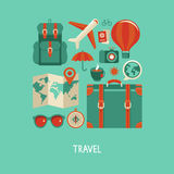 Vector vlakke pictogrammen - reis en vakantie Stock Afbeeldingen