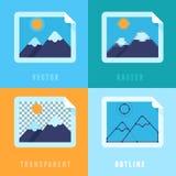 Vector vlakke pictogrammen - verschillende beeldformaten stock illustratie