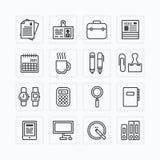 Vector vlakke pictogrammenreeks van het overzichtsconcept van bedrijfsbureauhulpmiddelen Stock Foto