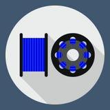 Vector vlakke pictogramspoel voor 3D printer, plastiek voor 3D printer, g Stock Afbeelding