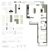 Vector vlakke projectie met meubilair reeks Elementen voor ontwerpers Royalty-vrije Stock Fotografie