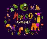 Vector vlakke reeks de traditionele elementen van Mexico, symbolen & dierlijke karakters in vlakke hand getrokken die stijl op do Royalty-vrije Stock Foto