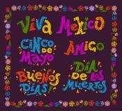 Vector vlakke reeks van Mexicaanse citaten & het van letters voorzien voor verschillende gelegenheden & gebeurtenissen vector illustratie