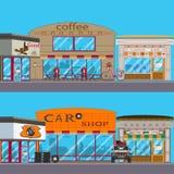 Vector vlakke reeks van winkelbuitenkant royalty-vrije illustratie