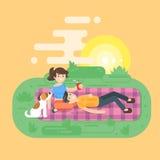 Vector vlakke stijlillustratie van jong gelukkig paar die picknick hebben vector illustratie