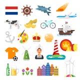 Vector vlakke stijlreeks nationale culturele symbolen van Nederland Royalty-vrije Stock Afbeelding