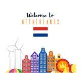 Vector vlakke stijlreeks nationale culturele symbolen van Nederland Stock Foto