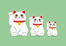 Vector vlakke stijlreeks van Japans Lucky Cat Maneki Neko Pictogram voor Web Geïsoleerdj op witte achtergrond vector illustratie