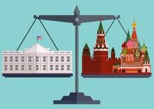 Vector vlakke stijlschalen Het Witte Huis Washington aan één kant en Moskou het Kremlin andere Stock Foto's