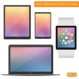 Vector vlakke technische laptop telefoontablet Stock Fotografie