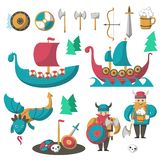 Vector vlakke Vikingen, vliegende draak en longships royalty-vrije illustratie