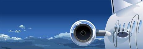 Vector vliegtuig in de Hemel stock illustratie