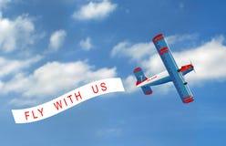 Vector vliegtuig met banner Royalty-vrije Stock Foto