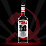 Vector vodka bottle mockup with your label here. Text. Silver bottle with sickle and hammer logo and cap over black background Stock Photos