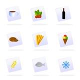Vector voedselpictogrammen Stock Afbeeldingen