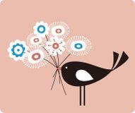 Vector vogel en bloem royalty-vrije illustratie