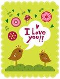 Vector vogels en bloem royalty-vrije illustratie