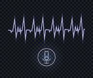 Vector Voice Recognition Neon Blue Illustration, Pulse Wave Glowing Line and Microphone. vector illustration