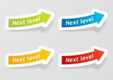 Vector volgende niveaubericht op geplaatste pijlstickers. Royalty-vrije Stock Afbeeldingen