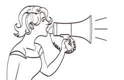 Vector volledig portret van een mooie vrouw die met een megafoon schreeuwen Linearttekening, eps 10 Stock Foto