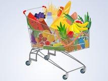 Vector volledige supermarktkar Royalty-vrije Stock Afbeeldingen