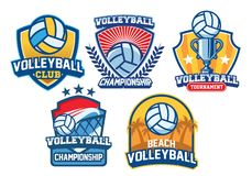 Volleyball badge design set. Vector of volleyball badge design set Stock Photography