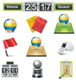 Vector volleyball icon set Royalty Free Stock Images
