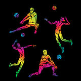 Vector volleyball silhouettes rainbow collection Stock Photos