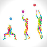 Vector volleyball silhouettes rainbow collection vector illustration