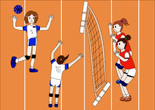 The Vector of Volleyball Team. The Vector of Volleyball girl Team Stock Images