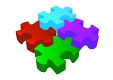 Vector volume 3d puzzle Royalty Free Stock Photo