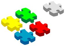 Vector volume 3d puzzle Stock Photos