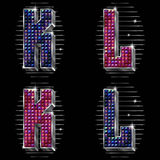 Vector volume letters K,L with shiny rhinestones Stock Images