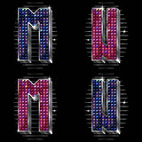 Vector volume letters M,N with shiny rhinestones Stock Image