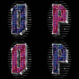 Vector volume letters O,P with shiny rhinestones Royalty Free Stock Images