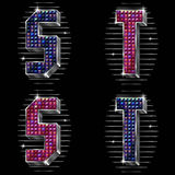Vector volume letters S,T with shiny rhinestones Stock Image